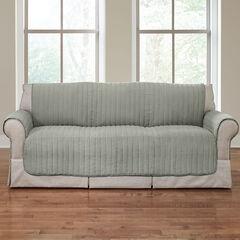 Reversible Plush Stripe Extra-Long Sofa Protector,