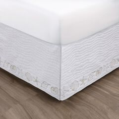 Greenland Home Fashions Coastal Seashell White Bed Skirt 18-inch,