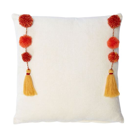 Nisha Suzani Square Pillow, IVORY