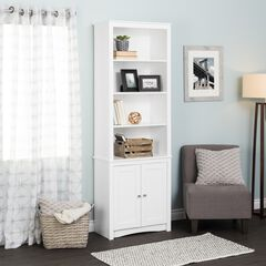 Tall Bookcase with 2 Shaker Doors, White,