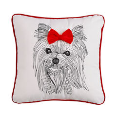 Holiday Dog with Bow Pillow ,