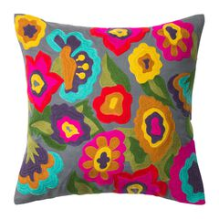 Multicolor Floral Embroidery Dec Pillow,