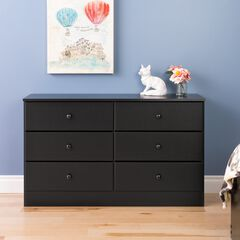 Astrid 6-Drawer Dresser,, BLACK