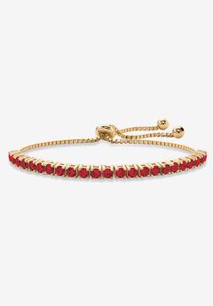 "Gold-Plated Bolo Bracelet, Simulated Birthstone 9.25"" Adjustable,"