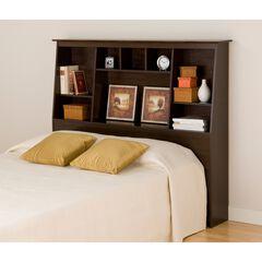 Espresso Full/Queen Tall Slant-Back Bookcase Headboard,