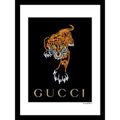 "Gucci Tiger Black/Orange 14"" x 18"" Framed Print,"