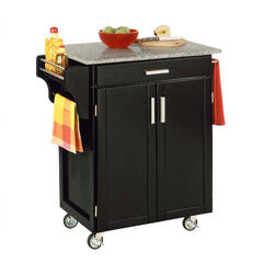 Black Finish Create a Cart with Salt & Pepper Granite Top ,