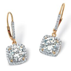 Yellow Gold over Sterling Silver Halo Drop Earrings Cubic Zirconia,
