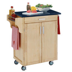 Natural Wood Cuisine Kitchen Cart with Black Granite Top,