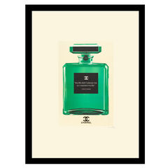 """Chanel Bottle Quote """"My Life"""" - Green / White - 14x18 Framed Print,"""