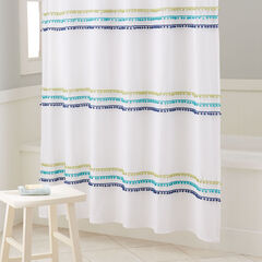 BrylaneHome® Studio PomPom Shower Curtain, OCEAN