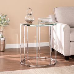 Cranstyn Round End Table with Glass Top,