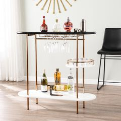 Dagney Wine/ Bar Table with Glassware Storage,