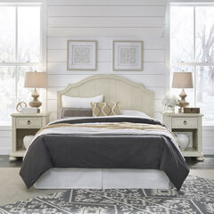 Provence White Queen Headboard & 2 Night Stands,