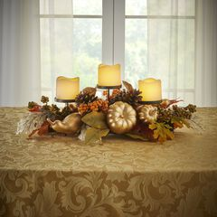 24€ Gold Pumpkin Harvest Centerpiece with 3 LED Candles, GOLD