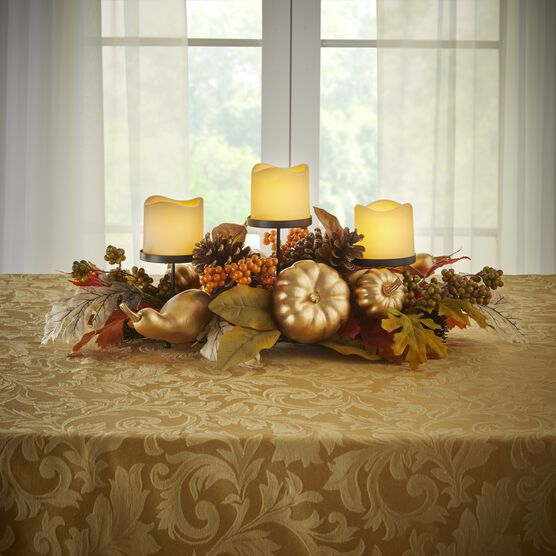 "24"" Gold Pumpkin Harvest Centerpiece with 3 LED Candles, GOLD"
