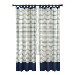 Tattersall Button Tab Top Window Curtain Panel - 52x63,
