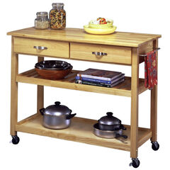 Solid Wood Top Kitchen Cart,