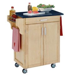Natural Wood Cuisine Kitchen Cart with Black Granite Top,