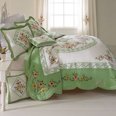 Ava Embroidered Cotton Sham, GREEN