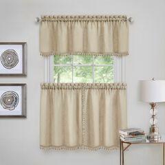 Wallace Window Kitchen Curtain Tier Pair and Valance Set, LINEN