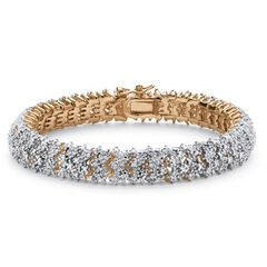 Yellow Gold-Plated Round Genuine Diamond Tennis Bracelet,