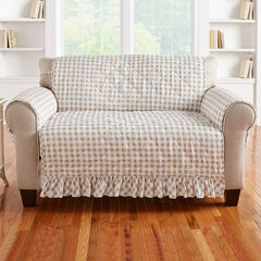 Gingham Ruffled Waterproof Microfiber Loveseat Protector, TAUPE WHITE