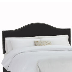 "Queen Size Upholstered Curved Top Nail Button Border Headboard, 62""Lx4""Wx51""H, BLACK"