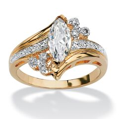Gold-Plated Marquise Cut Engagement Ring Cubic Zirconia,