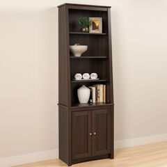 Tall Slant-Back Bookcase with 2 Shaker Doors, Espresso,