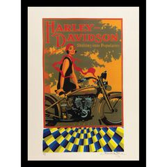 Vintage Harley Davidson Motorbike 14x18 Framed Print, ORANGE MULTI