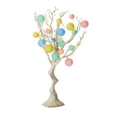 Tree Branch with Pastel String Lights,