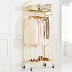 Scrolled Metal Rolling Closet, WARM YELLOW