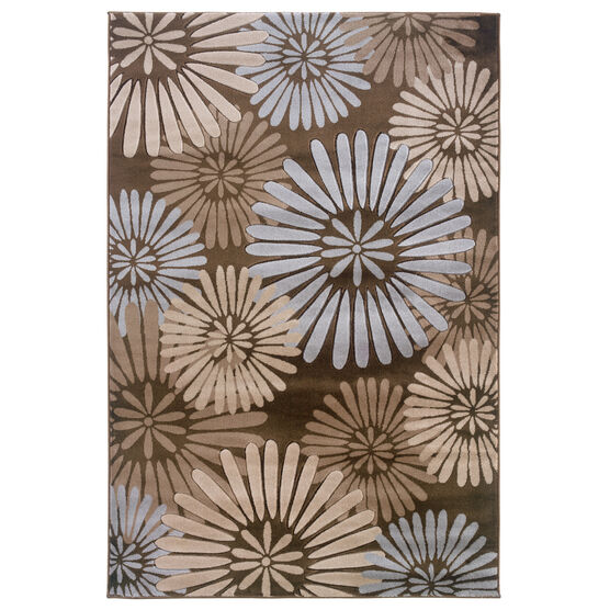 Milan Brown/Aqua 2'X3' Area Rug, BROWN