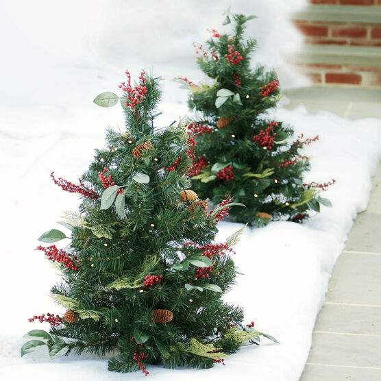 3 Pre Lit Decorated Stake Tree