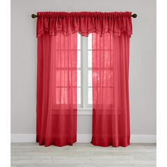 BH Studio Sheer Voile Layered Valance, RUBY