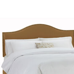 Upholstered Curved Top Nail Button Border Headboard in Microsuede,