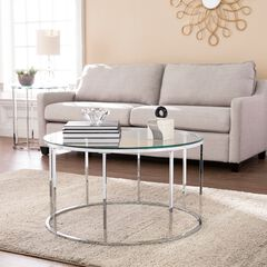 Cranstyn Round Cocktail Table with Glass Top,