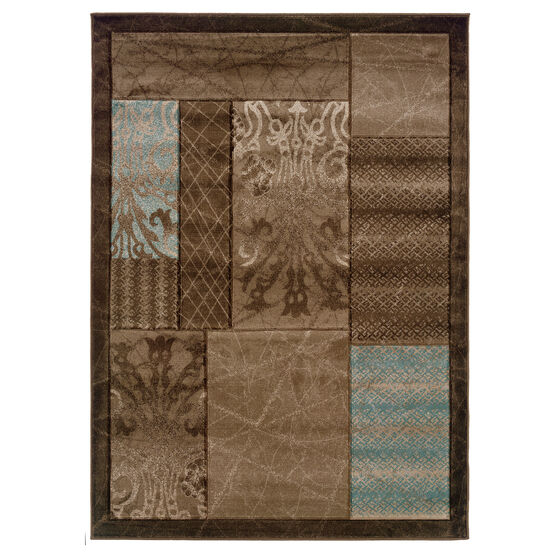 Milan Brown/Black 2'X3' Area Rug, BROWN BLOCK