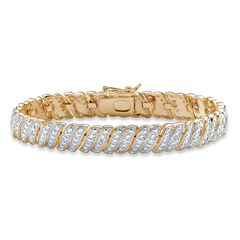 "Yellow Gold Plated S Link Tennis Bracelet (10mm), Genuine Diamond Accent 8"","