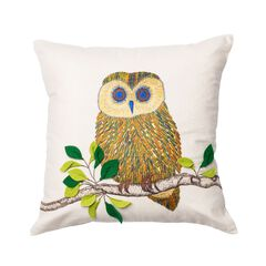 Embroidered Owl & Feather Decorative Pillow,