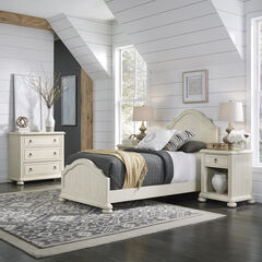 Provence White Twin Bed, Night Stand & Chest,