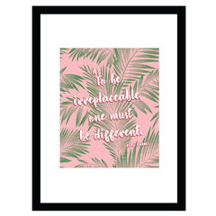 Chanel Irreplaceable Quote - Pink / Green - 14x18 Framed Print,