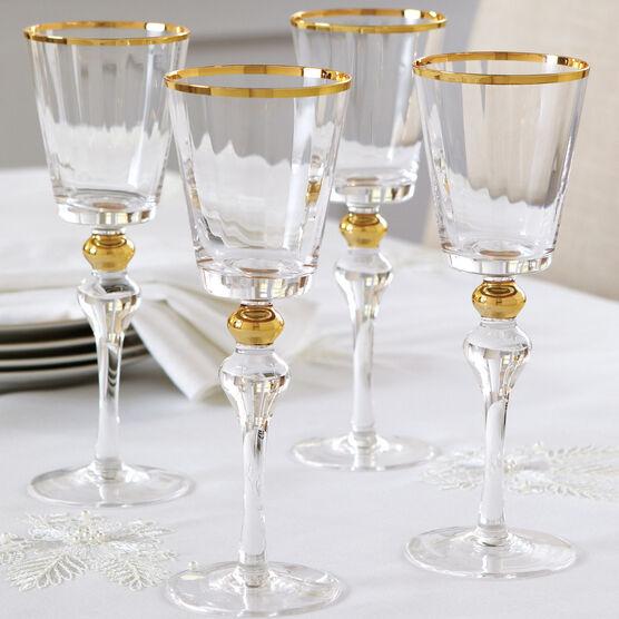 Gold Rim Wine Glasses, Set of 4