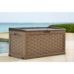 88-Gallon Basketweave Deck Storage Bench,