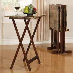 Faux Marble Tray Table Set,
