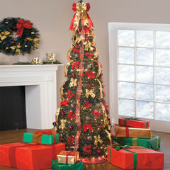 Fully Decorated Pre-Lit 7½' Pop-Up Christmas Tree, RED GOLD