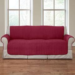Reversible Plush Stripe Sofa Protector, CRANBERRY