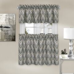 Avery Window Curtain Tier Pair and Valance Set, CHARCOAL
