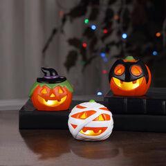 Collectible LED Ceramic Pumpkins, Set of 3,